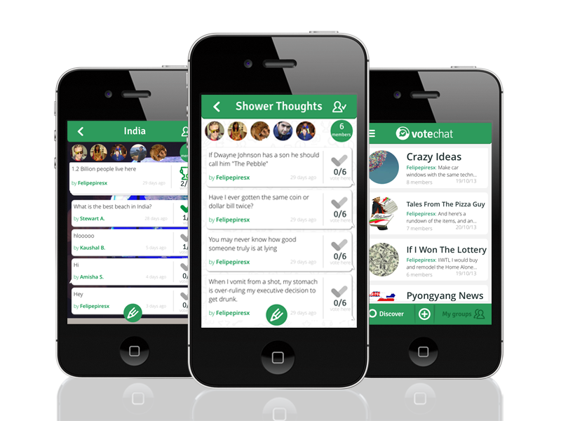 Group voting and messaging app Votechat